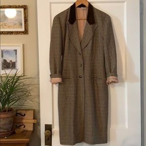 Vintage working girl PLAID wool oversize coat